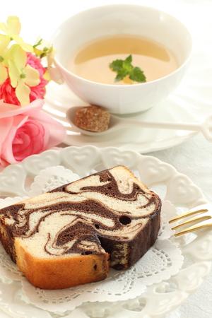 pound cake: Chocolate marble pound cake Stock Photo