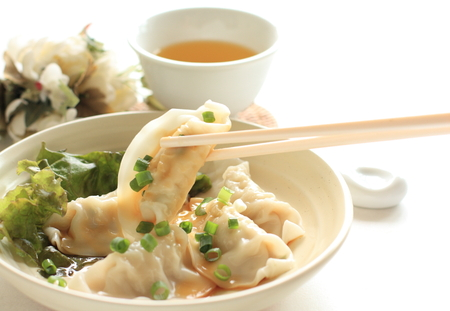 chinese food: Chinese cuisine, Homemade gyoga dumpling Stock Photo