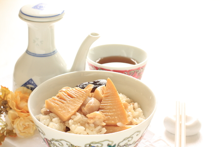 pearl tea: Japanese food, bamboo shoots and chicken rice Stock Photo