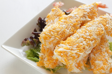 alimentos congelados: close up of Japanese frozen food, Deep fried prawn Foto de archivo