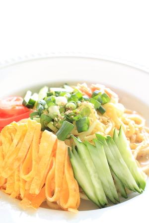日本の夏の料理、HiyashiChuka 冷麺 写真素材