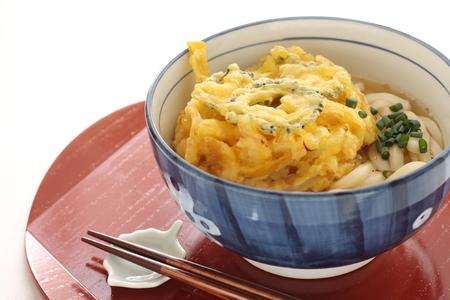 bitter melon: Bitter melon Tempura on Udon noodles