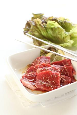 yakiniku: Korean barbecue, Yakiniku seasoning and beef Stock Photo