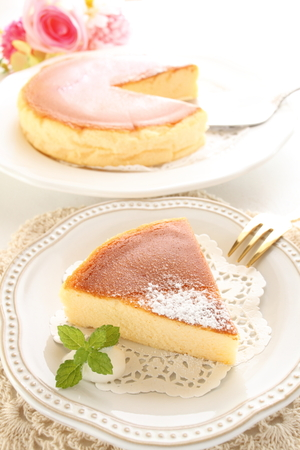 baked cheese cake and tea Stock Photo
