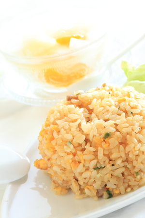 garish: Chinese food, Almond tofu and fried rice Stock Photo