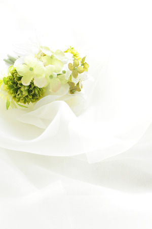 copys pace: Satin and flower for background image Stock Photo