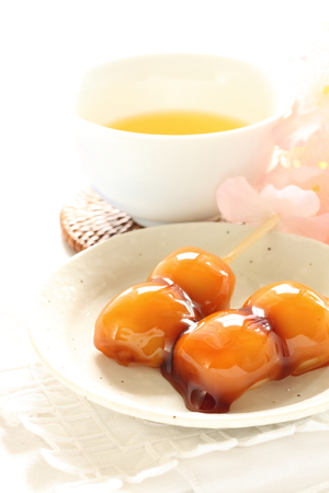 soy sauce: Japanese food, soy sauce Mitarashi dango Stock Photo