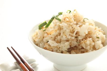 sardines: Japanese food, boiled small sardines Shirasu and rice