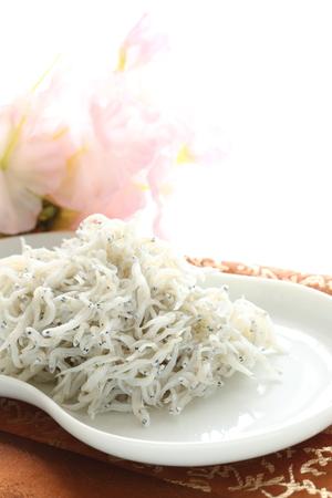 sardinas: La comida japonesa, hervida pequeñas sardinas y arroz Shirasu