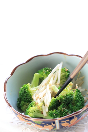 soy bean: boiled soy bean and broccoli salad Stock Photo