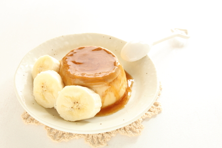 pudding: banana and caramel pudding Stock Photo