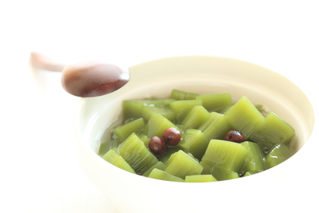 japanese green tea: japanese green tea jelly with bean Stock Photo