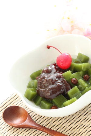 green bean: japanese green tea jelly with bean Stock Photo