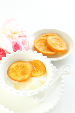 dried orange: dried orange and yogurt Stock Photo
