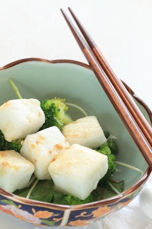 pan fried: Japanese salad, pan fried Hanpen