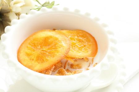 dried orange: dried orange on milk corn flake Stock Photo
