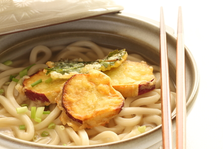dashi: sweet potato tempura nd udon noodles