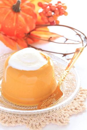 pudding: pumpkin pudding with cream