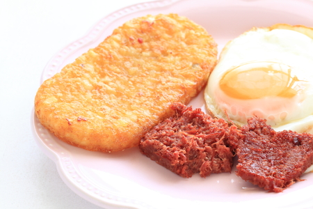 corned beef and suny sdie up egg Stock Photo