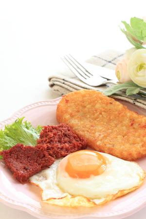 suny: corned beef and suny sdie up egg Stock Photo