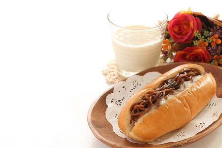 Japanese food, fried noodle sandwich with milk