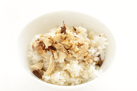 Pacific saury on rice Stock Photo