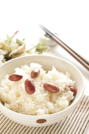 red bean: Asian food, Glutinous rice with red bean Stock Photo