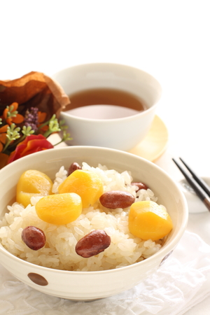 Japanese food, Chestnut and red bean rice