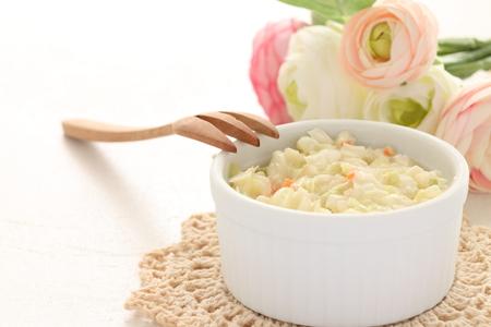 english food: coleslaw and flower for english food image Stock Photo