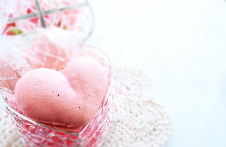 macaron: homemade heart shaped macaron