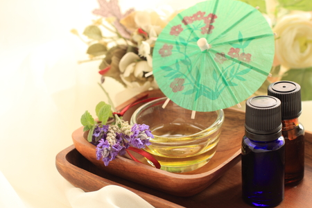 aroma oil and lavendar for beauty image