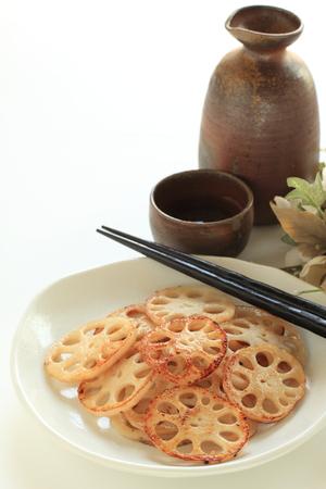 sake: Lotus roots stir fried with Sake, Japanese food