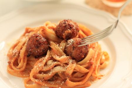 fettuccine: homemade meat ball fettuccine pasta Stock Photo