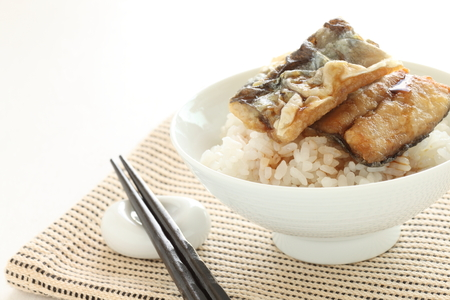 soy sauce: deep fried pacific saury on rice with soy sauce Stock Photo