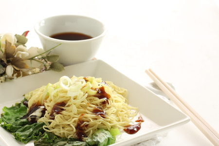 Chinese food, oyster sauce Lo mein with tea