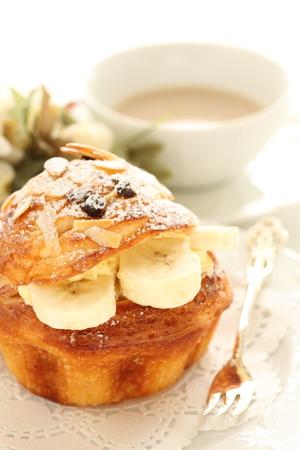 banana bread: Homemade banana custard puff pastry