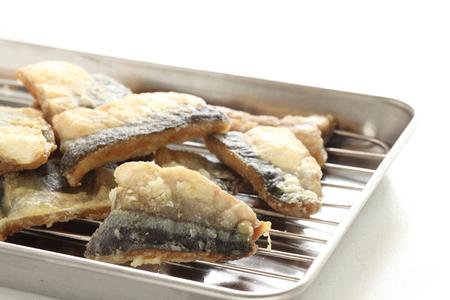 Deep fried pacific saury