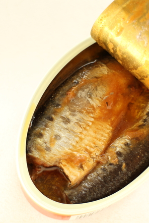 sardine can: Simmered sardine, Japanese can food Stock Photo