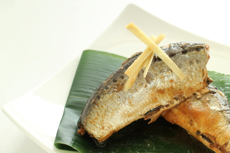 sardinas: Japanese food, sardines simmered with ginger and miso