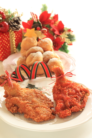 fried chicken with ribbon for Christmas food image