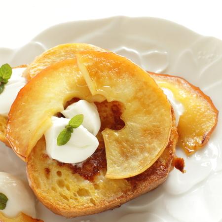 comfort food: baked apple and yogurt on French toast Stock Photo