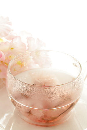 Japanische Kirschblüte Sakura Tee Standard-Bild - 80463404