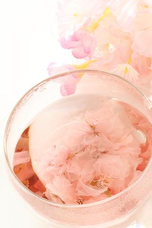Japanese flower tea, cherry blossom Stock Photo