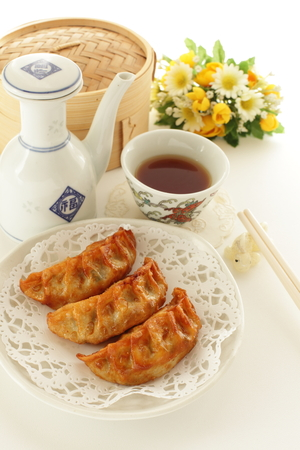 Japanese food, deep fried dumpling and rice Stock Photo - 80165481