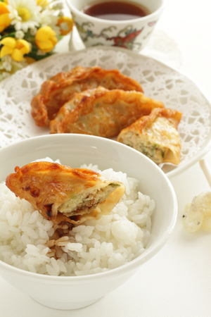 Japanese food, deep fried dumpling and rice