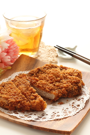 high section: Japanese deep fried cutlet and iced tea