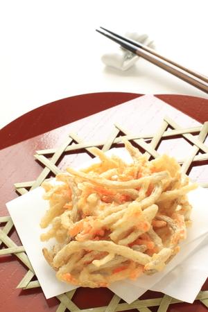 Alimento giapponese, burdock e carota profonda Tempura fritta Archivio Fotografico - 81209017