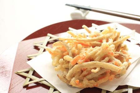 Alimento giapponese, burdock e carota profonda Tempura fritta Archivio Fotografico - 81209016