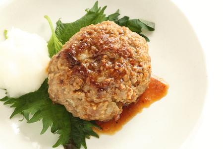 Japanese hamburger steak served with granted radish
