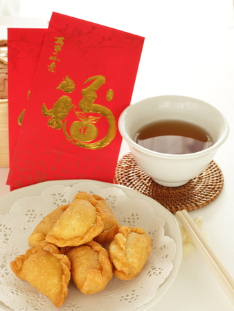 Chinese new year food, cookie and tea 写真素材